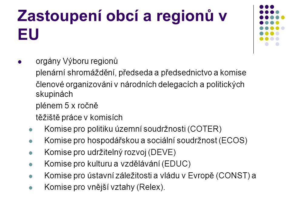 Zastoupení obcí a regionů v EU orgány Výboru regionů plenární shromáždění, předseda a předsednictvo a komise členové organizováni v národních delegacích a politických skupinách plénem 5 x ročně těžiště práce v komisích Komise pro politiku územní soudržnosti (COTER) Komise pro hospodářskou a sociální soudržnost (ECOS) Komise pro udržitelný rozvoj (DEVE) Komise pro kulturu a vzdělávání (EDUC) Komise pro ústavní záležitosti a vládu v Evropě (CONST) a Komise pro vnější vztahy (Relex).