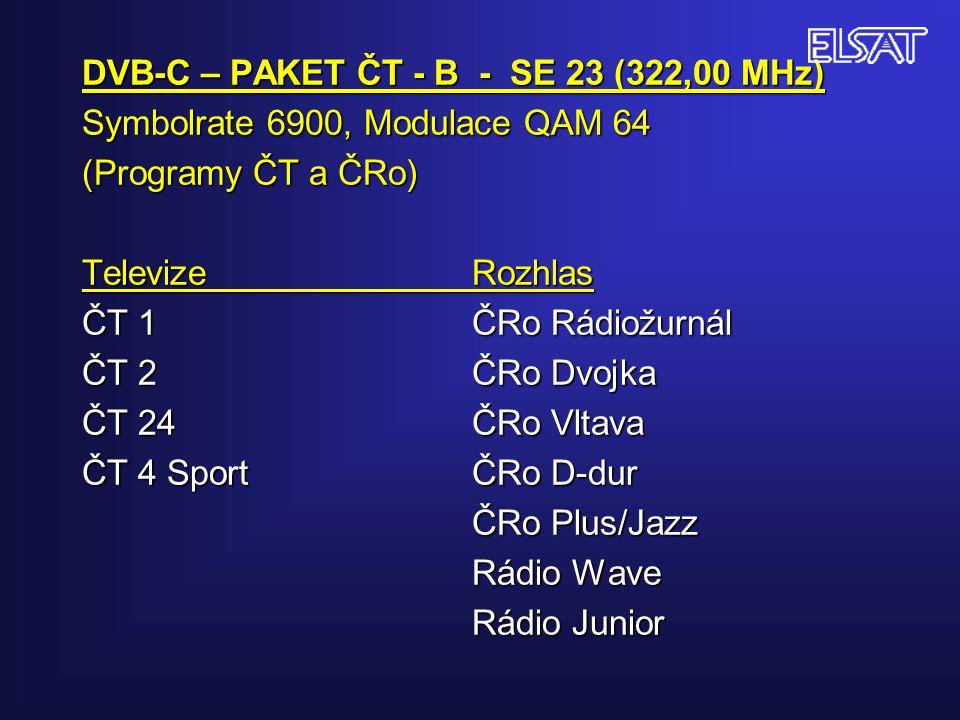 DVB-C – PAKET ČT - B - SE 23 (322,00 MHz) Symbolrate 6900, Modulace QAM 64 (Programy ČT a ČRo) Televize Rozhlas ČT 1 ČRo Rádiožurnál ČT 2ČRo Dvojka ČT