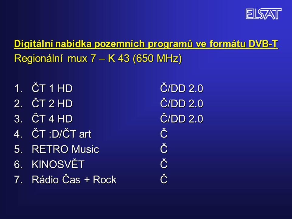 Digitální nabídka pozemních programů ve formátu DVB-T Regionální mux 7 – K 43 (650 MHz) 1. ČT 1 HDČ/DD 2.0 2. ČT 2 HDČ/DD 2.0 3. ČT 4 HDČ/DD 2.0 4. ČT