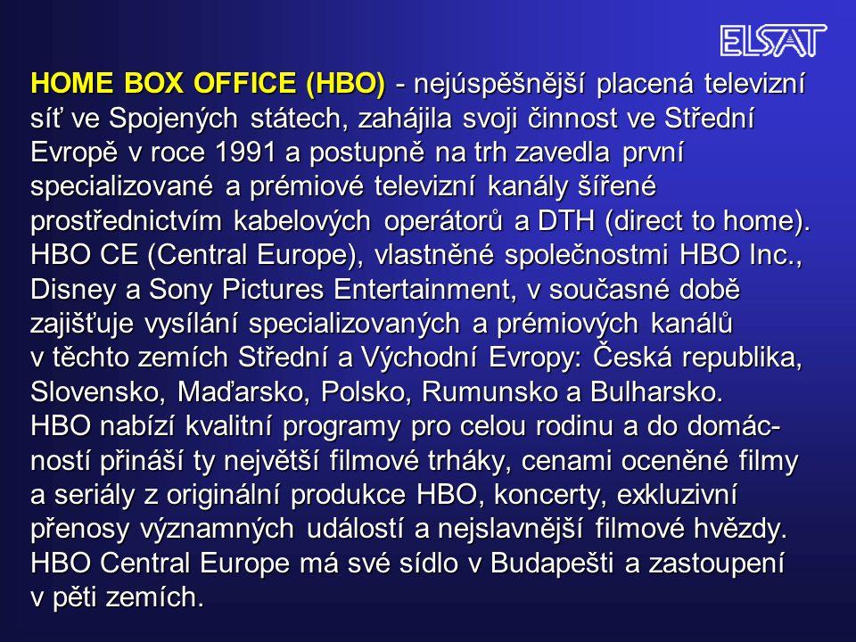 HOME BOX OFFICE (HBO) - nejúspěšnější placená televizní síť ve Spojených státech, zahájila svoji činnost ve Střední Evropě v roce 1991 a postupně na trh zavedla první specializované a prémiové televizní kanály šířené prostřednictvím kabelových operátorů a DTH (direct to home).