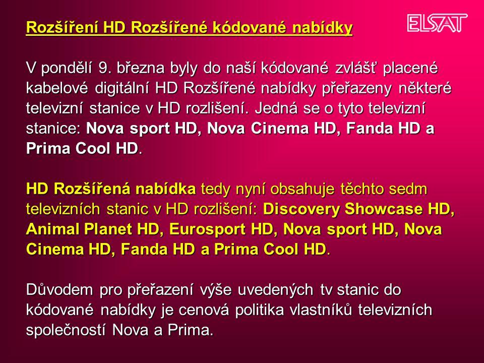 Rozšíření HD Rozšířené kódované nabídky V pondělí 9.