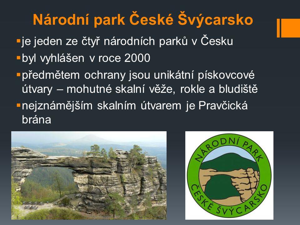 Národní park České Švýcarsko  je jeden ze čtyř národních parků v Česku  byl vyhlášen v roce 2000  předmětem ochrany jsou unikátní pískovcové útvary