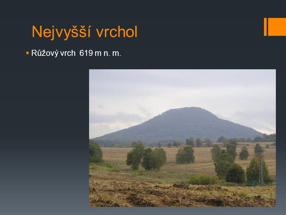Nejvyšší vrchol  Růžový vrch 619 m n. m.