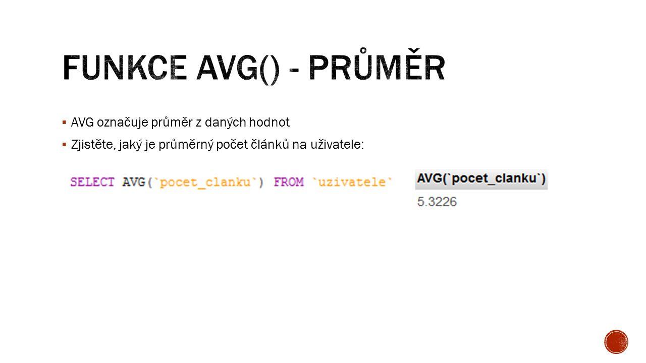  AVG označuje průměr z daných hodnot  Zjistěte, jaký je průměrný počet článků na uživatele:
