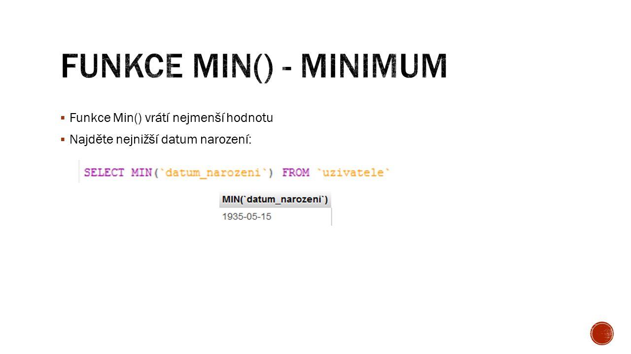  Funkce Min() vrátí nejmenší hodnotu  Najděte nejnižší datum narození: