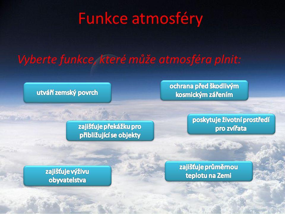 Vrstvy atmosféry atmosféra s výškou mění své vlastnosti (s rostoucí výškou se snižuje teplota a klesá tlak) TROPOSFÉRA -průměrná výška zhruba 16 km -odehrává se zde většina meteorologických jevů a procesů (počasí) STRATOSFÉRA -do výšky asi 50 km -nelze zde dýchat -ve výšce 25-30 km obklopuje Zemi OZONOSFÉRA MEZOSFÉRA IONOSFÉRA -ve výšce asi 800km -umožňuje přenos rozhlasového signálu EXOSFÉRA -horní hranice 20-30 tisíc km -postupně přechází do MEZIPLANETÁRNÍHO PROSTORU