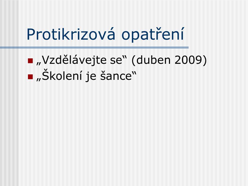 """Protikrizová opatření """"Vzdělávejte se (duben 2009) """"Školení je šance"""
