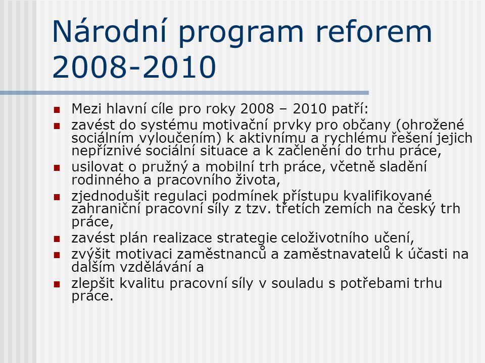 Národní program reforem 2008-2010 Mezi hlavní cíle pro roky 2008 – 2010 patří: zavést do systému motivační prvky pro občany (ohrožené sociálním vyloučením) k aktivnímu a rychlému řešení jejich nepříznivé sociální situace a k začlenění do trhu práce, usilovat o pružný a mobilní trh práce, včetně sladění rodinného a pracovního života, zjednodušit regulaci podmínek přístupu kvalifikované zahraniční pracovní síly z tzv.