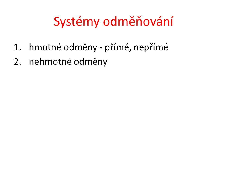 Systémy odměňování 1.hmotné odměny - přímé, nepřímé 2.nehmotné odměny