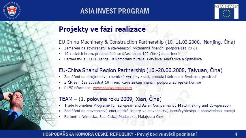 HOSPODÁŘSKÁ KOMORA ČESKÉ REPUBLIKY - Pevný bod ve světě podnikání5 ASIA INVEST PROGRAM Další programy EU zaměřené na Asii Central Asia Invest Kazachstán, Uzbekistán, Kyrgyzstán, Tádžikistán, Ázerbajdžán – posilování podnikatelské samosprávy, malé kontaktní akce SWITCH Asia pokračovatel programu Asia Invest, nižší rozpočet, zaměření výhradně na životní prostředí