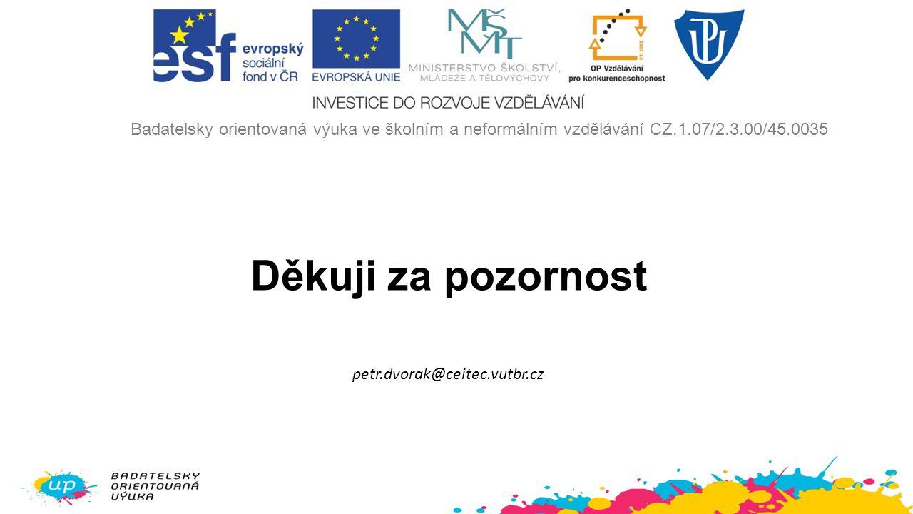 Děkuji za pozornost petr.dvorak@ceitec.vutbr.cz Badatelsky orientovaná výuka ve školním a neformálním vzdělávání CZ.1.07/2.3.00/45.0035