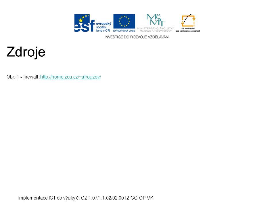 Implementace ICT do výuky č. CZ.1.07/1.1.02/02.0012 GG OP VK Zdroje Obr.