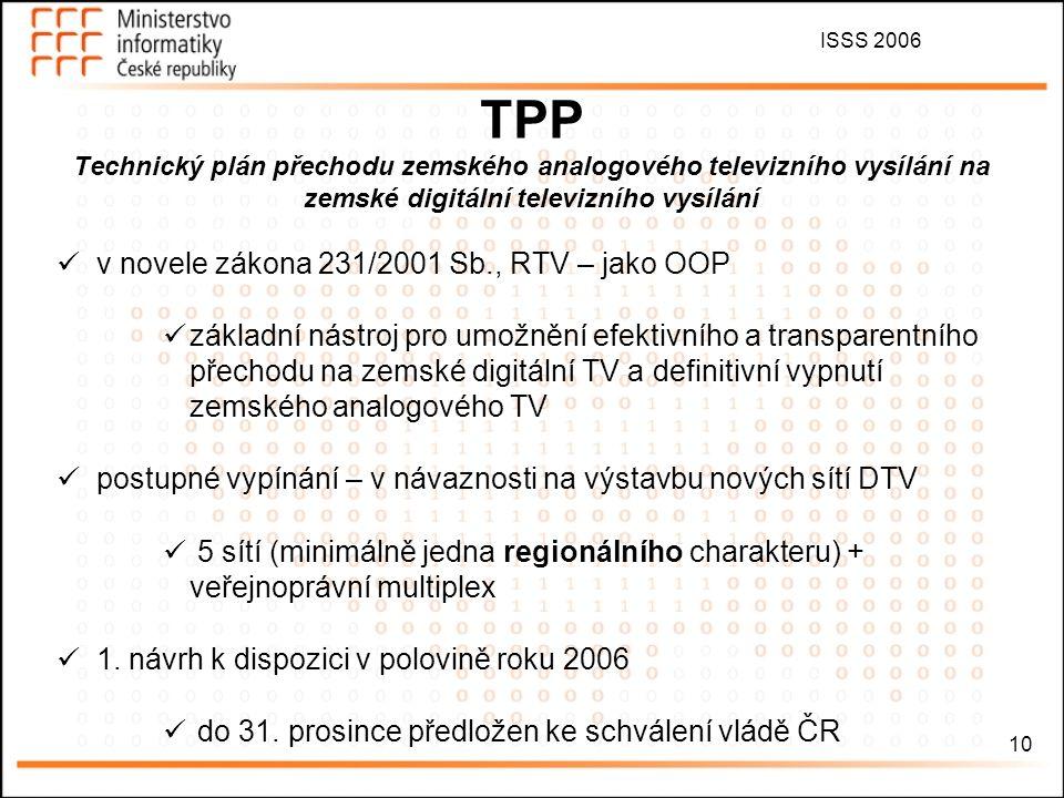ISSS 2006 10 TPP Technický plán přechodu zemského analogového televizního vysílání na zemské digitální televizního vysílání v novele zákona 231/2001 S