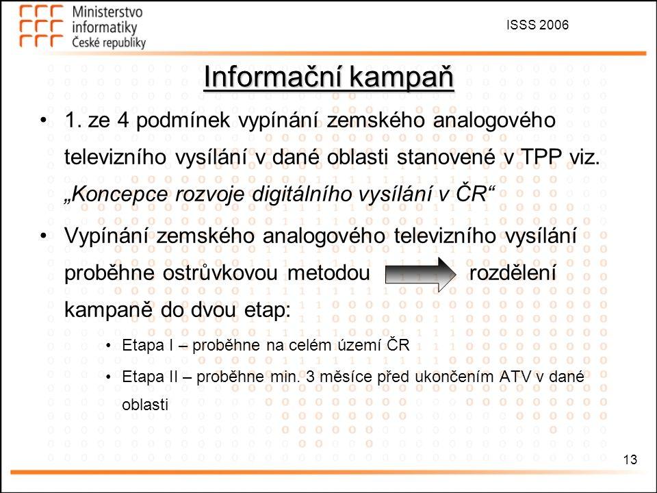 """ISSS 2006 13 Informační kampaň 1. ze 4 podmínek vypínání zemského analogového televizního vysílání v dané oblasti stanovené v TPP viz. """"Koncepce rozvo"""