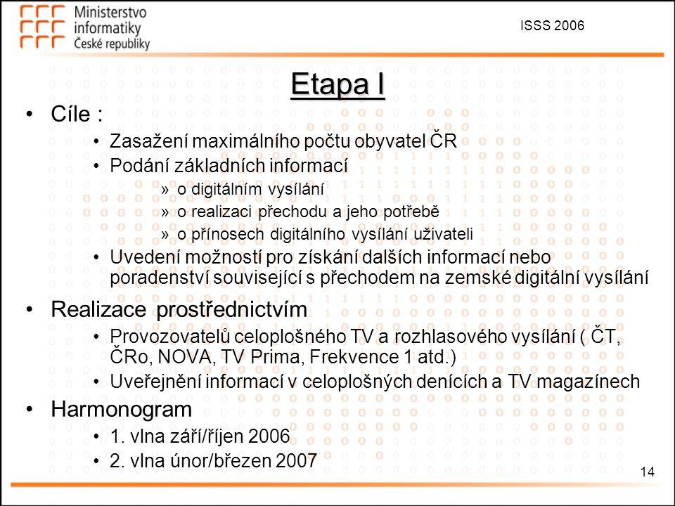 ISSS 2006 14 Etapa I Cíle : Zasažení maximálního počtu obyvatel ČR Podání základních informací »o digitálním vysílání »o realizaci přechodu a jeho pot