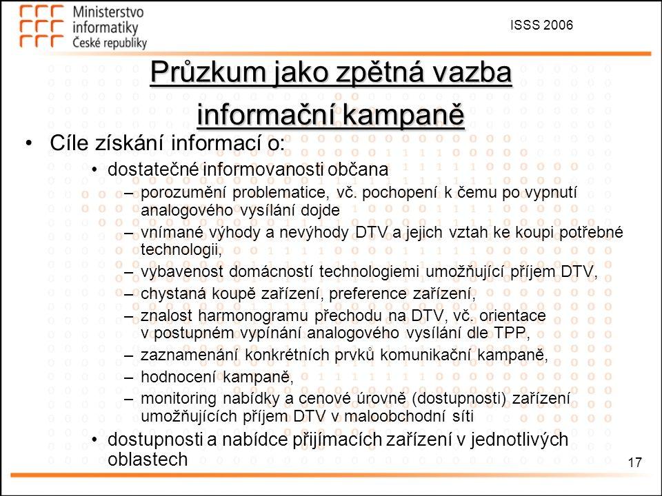 ISSS 2006 17 Průzkum jako zpětná vazba informační kampaně Cíle získání informací o: dostatečné informovanosti občana –porozumění problematice, vč.