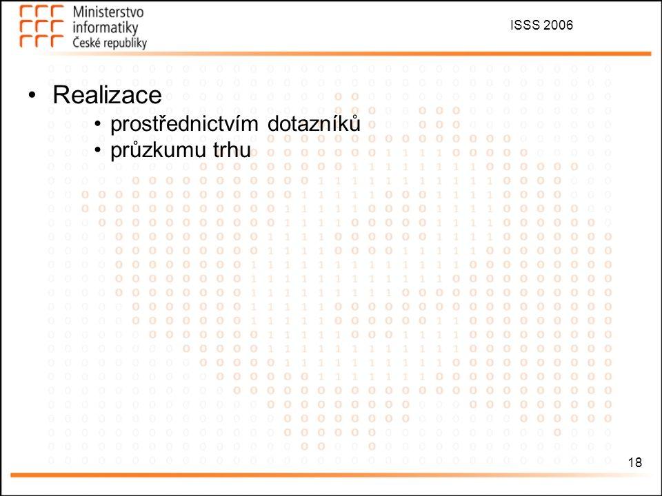 ISSS 2006 18 Realizace prostřednictvím dotazníků průzkumu trhu