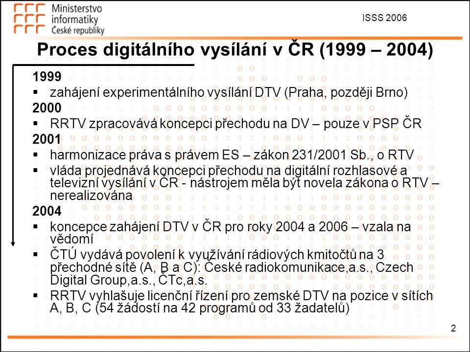 ISSS 2006 2 Proces digitálního vysílání v ČR (1999 – 2004) 1999  zahájení experimentálního vysílání DTV (Praha, později Brno) 2000  RRTV zpracovává koncepci přechodu na DV – pouze v PSP ČR 2001  harmonizace práva s právem ES – zákon 231/2001 Sb., o RTV  vláda projednává koncepci přechodu na digitální rozhlasové a televizní vysílání v ČR - nástrojem měla být novela zákona o RTV – nerealizována 2004  koncepce zahájení DTV v ČR pro roky 2004 a 2006 – vzala na vědomí  ČTÚ vydává povolení k využívání rádiových kmitočtů na 3 přechodné sítě (A, B a C): České radiokomunikace,a.s., Czech Digital Group,a.s., ČTc,a.s.