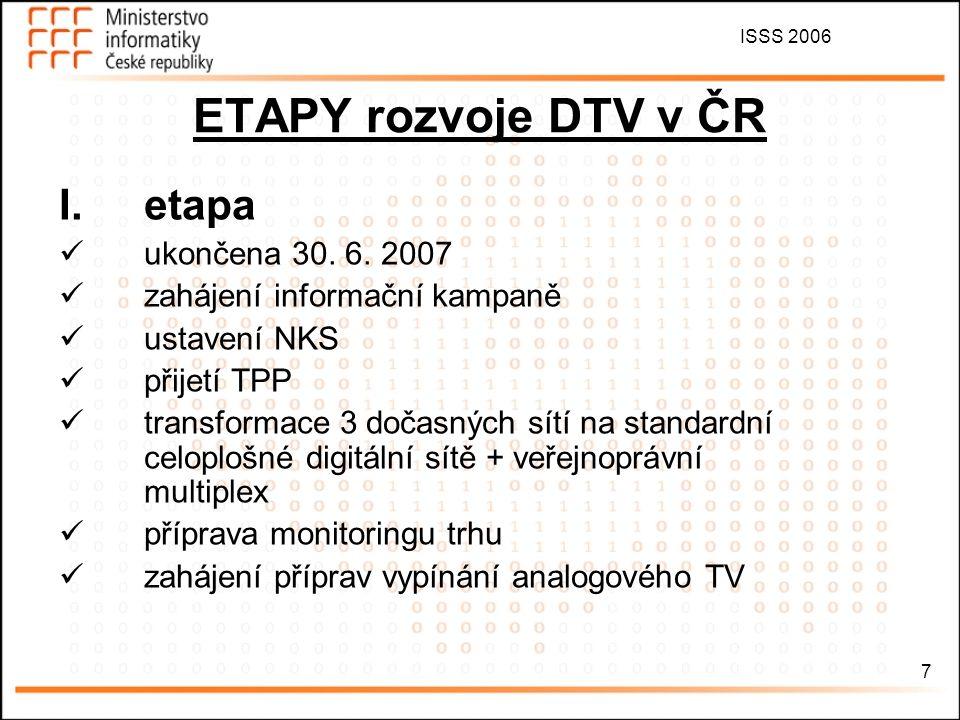 ISSS 2006 7 ETAPY rozvoje DTV v ČR I.etapa ukončena 30. 6. 2007 zahájení informační kampaně ustavení NKS přijetí TPP transformace 3 dočasných sítí na