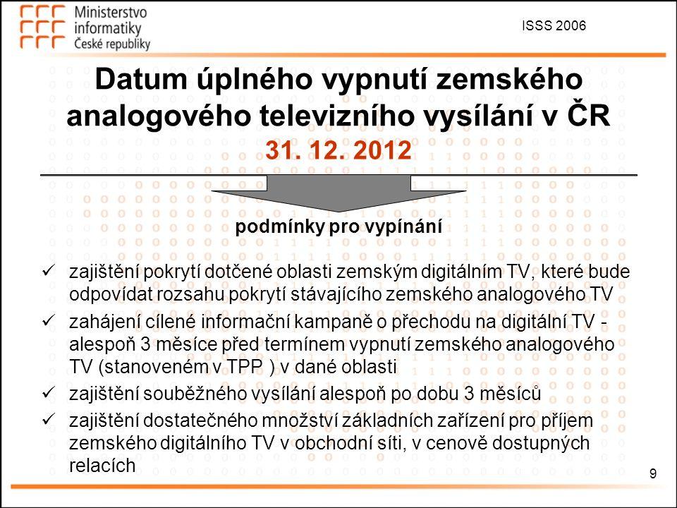 ISSS 2006 9 31. 12. 2012 podmínky pro vypínání zajištění pokrytí dotčené oblasti zemským digitálním TV, které bude odpovídat rozsahu pokrytí stávající