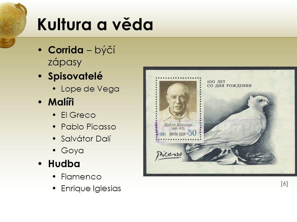 Kultura a věda Corrida – býčí zápasy Spisovatelé Lope de Vega Malíři El Greco Pablo Picasso Salvátor Dalí Goya Hudba Flamenco Enrique Iglesias [6][6]