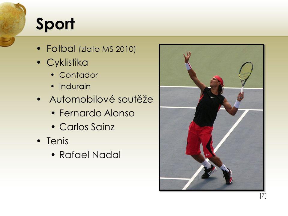 Sport Fotbal (zlato MS 2010) Cyklistika Contador Indurain Automobilové soutěže Fernardo Alonso Carlos Sainz Tenis Rafael Nadal [7][7]