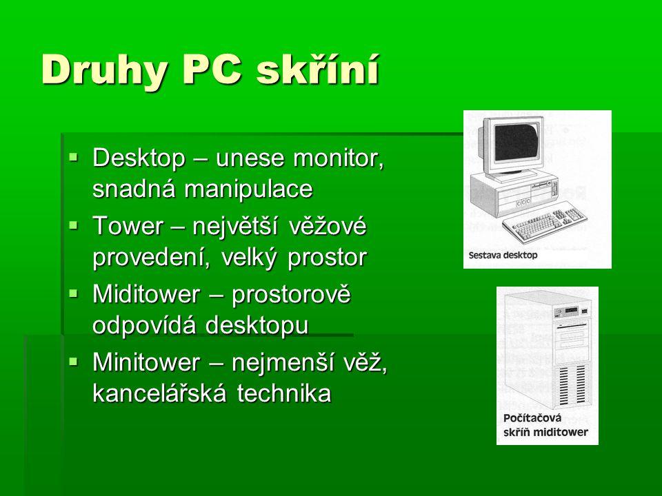 Druhy PC skříní  Desktop – unese monitor, snadná manipulace  Tower – největší věžové provedení, velký prostor  Miditower – prostorově odpovídá desktopu  Minitower – nejmenší věž, kancelářská technika