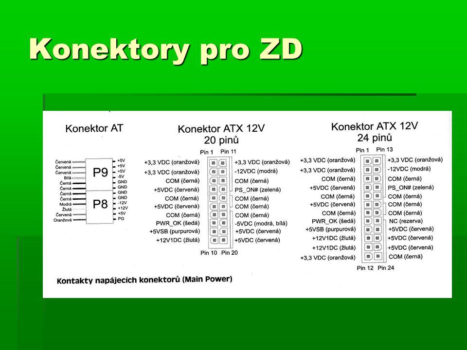 Konektor AT  Má pouze 12 pinů  Dodává 5 a 12V  Zapnutí a vypnutí pouze mechanické dvoupólovým vypínačem  Další konektory pro diskety, HDD, mechaniky