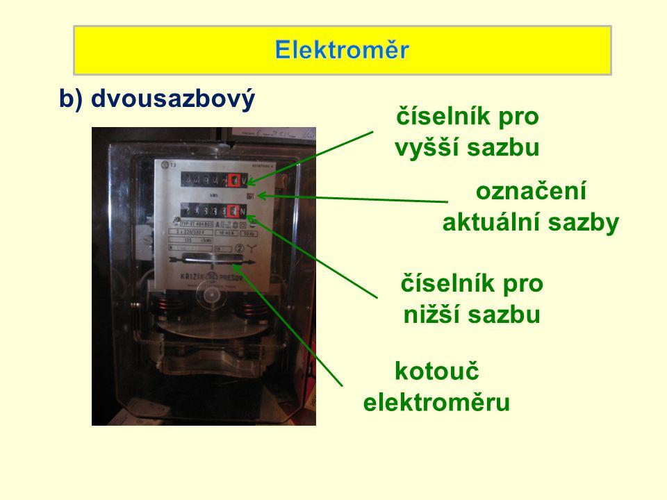 Detail elektroměru: číselníky rozsah proudu počet otáček kotouče elektroměru na1 kWh napětí jednotka odebrané energie kWh