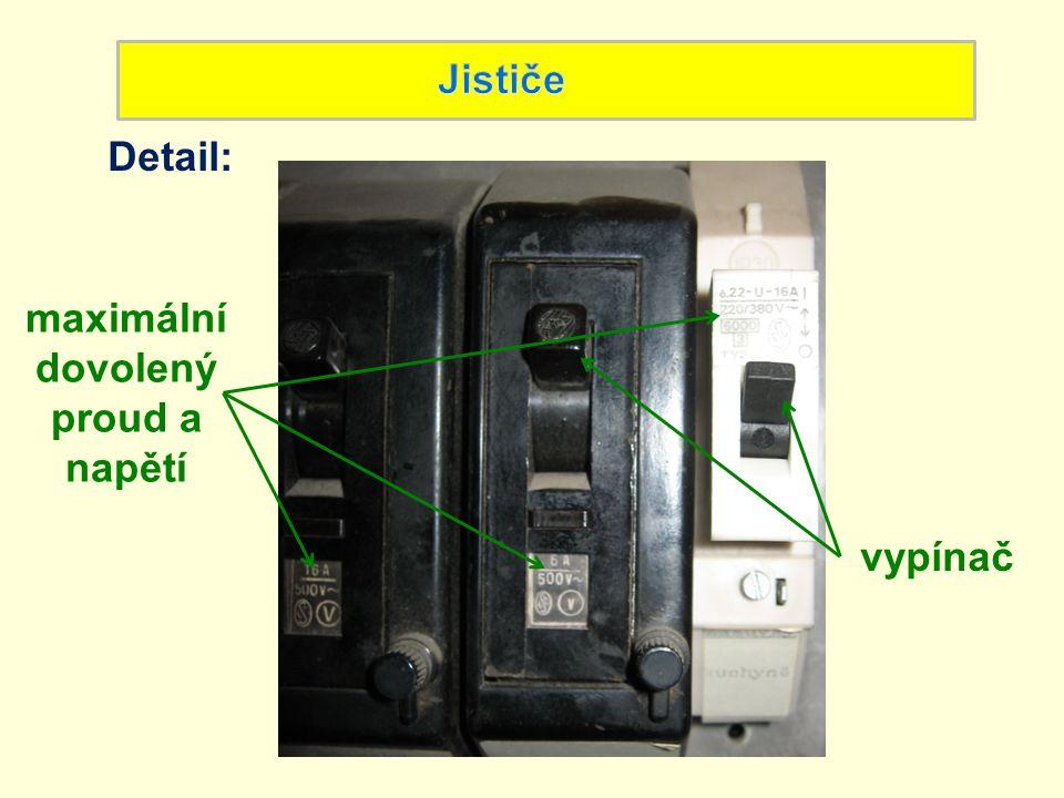 Detail: maximální dovolený proud a napětí vypínač
