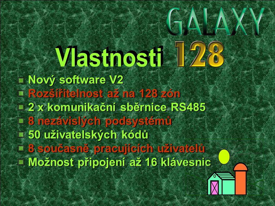 Rozšířitelnost až na 128 zón Nový software V2 2 x komunikační sběrnice RS485 8 nezávislých podsystémů 50 uživatelských kódů 8 současně pracujících uživatelů Možnost připojení až 16 klávesnic
