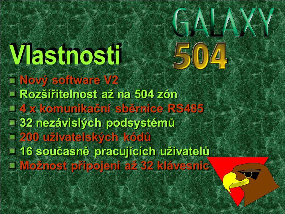 Rozšířitelnost až na 504 zón Nový software V2 4 x komunikační sběrnice RS485 32 nezávislých podsystémů 200 uživatelských kódů 16 současně pracujících uživatelů Možnost připojení až 32 klávesnic