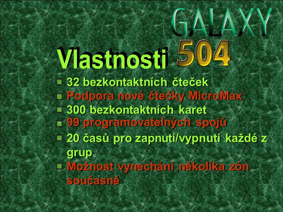 300 bezkontaktních karet Podpora nové čtečky MicroMax 20 časů pro zapnutí/vypnutí každé z grup 99 programovatelných spojů 32 bezkontaktních čteček Možnost vynechání několika zón současně