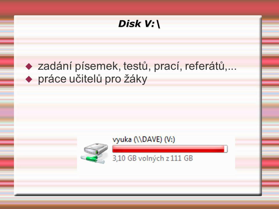 Disk V:\  zadání písemek, testů, prací, referátů,...  práce učitelů pro žáky