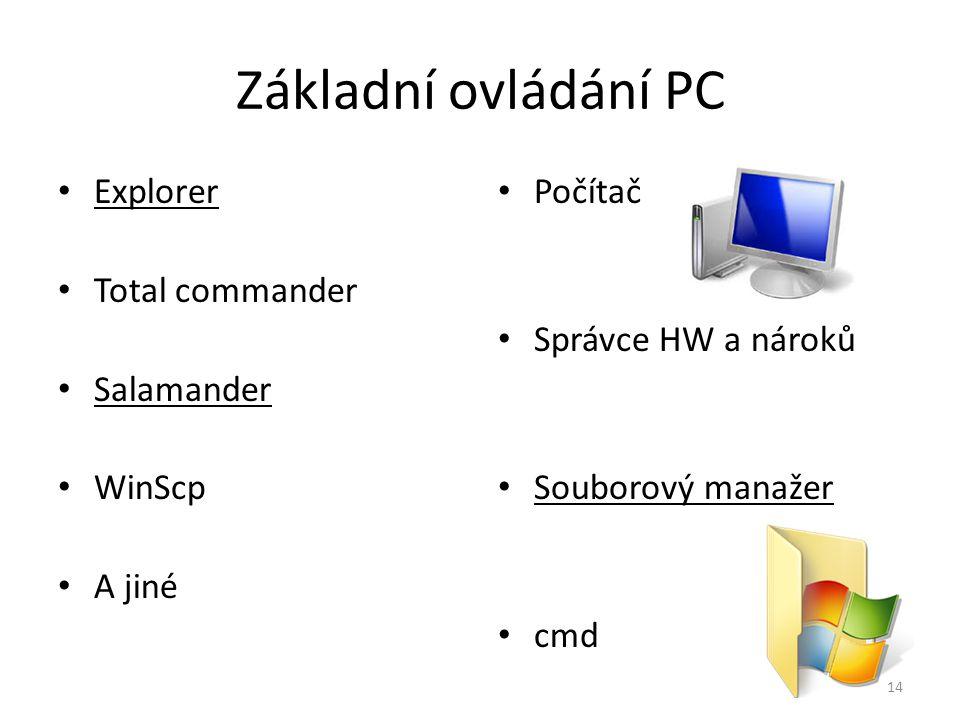 Základní ovládání PC Explorer Total commander Salamander WinScp A jiné Počítač Správce HW a nároků Souborový manažer cmd 14