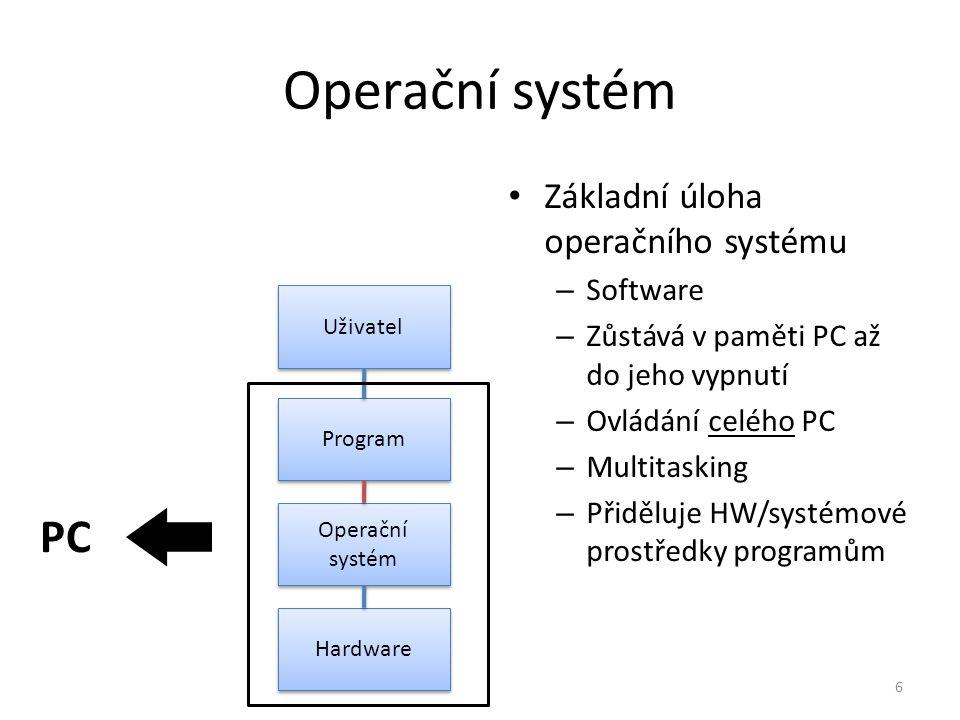 Operační systém Základní úloha operačního systému – Software – Zůstává v paměti PC až do jeho vypnutí – Ovládání celého PC – Multitasking – Přiděluje
