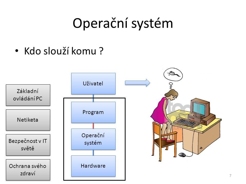 Operační systém Kdo slouží komu ? 7 Uživatel Program Operační systém Hardware Netiketa Bezpečnost v IT světě Základní ovládání PC Ochrana svého zdraví