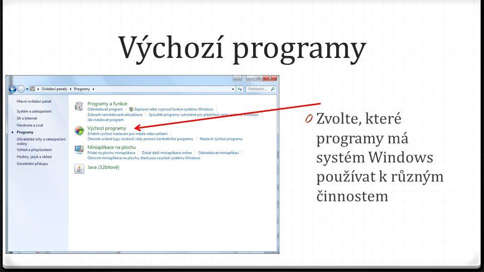 Výchozí programy 0 Zvolte, které programy má systém Windows používat k různým činnostem