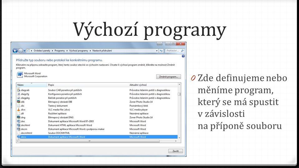 Výchozí programy 0 Zde definujeme nebo měníme program, který se má spustit v závislosti na příponě souboru