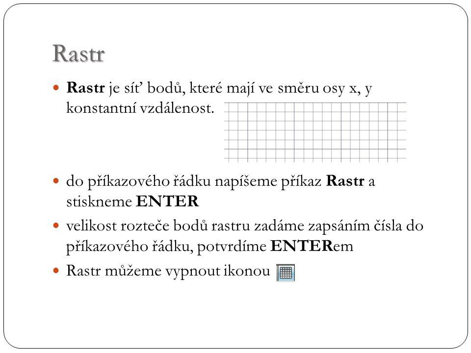Rastr Rastr je síť bodů, které mají ve směru osy x, y konstantní vzdálenost.