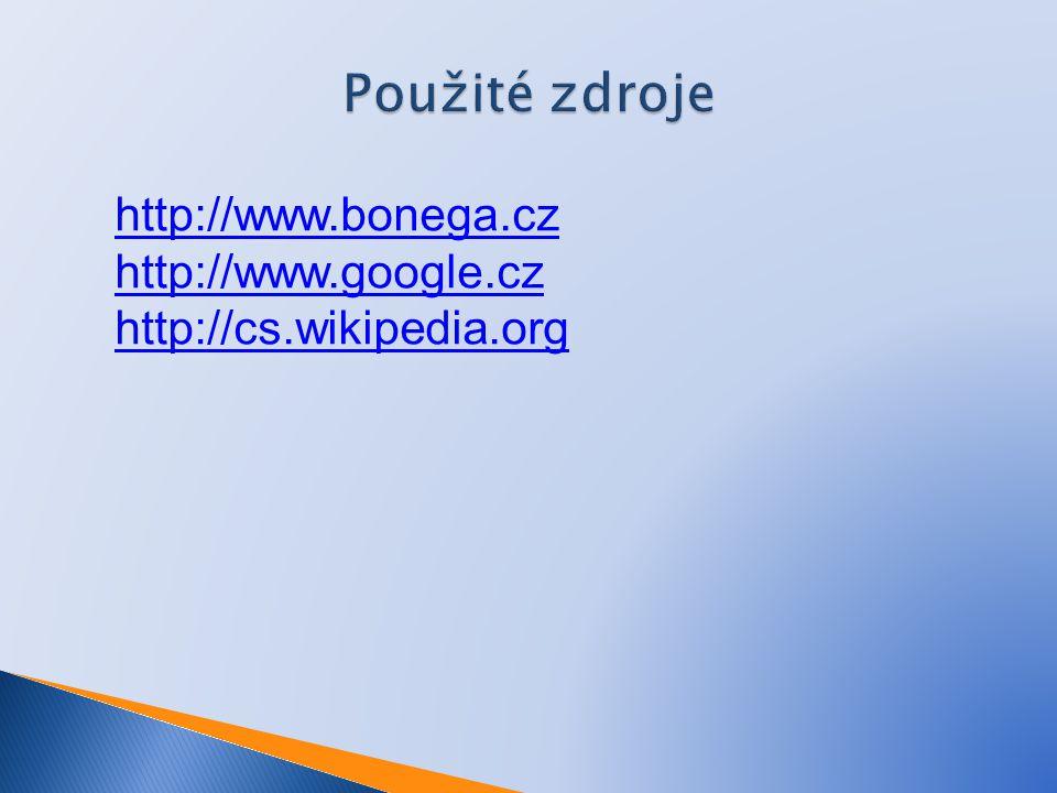 Použité zdroje http://www.bonega.cz http://www.google.cz http://cs.wikipedia.org
