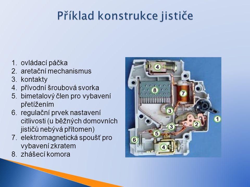 Příklad konstrukce jističe 1.ovládací páčka 2.aretační mechanismus 3.kontakty 4.přívodní šroubová svorka 5.bimetalový člen pro vybavení přetížením 6.r