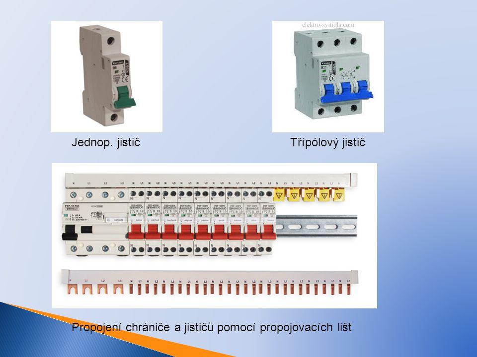 Jednop. jističTřípólový jistič Propojení chrániče a jističů pomocí propojovacích lišt
