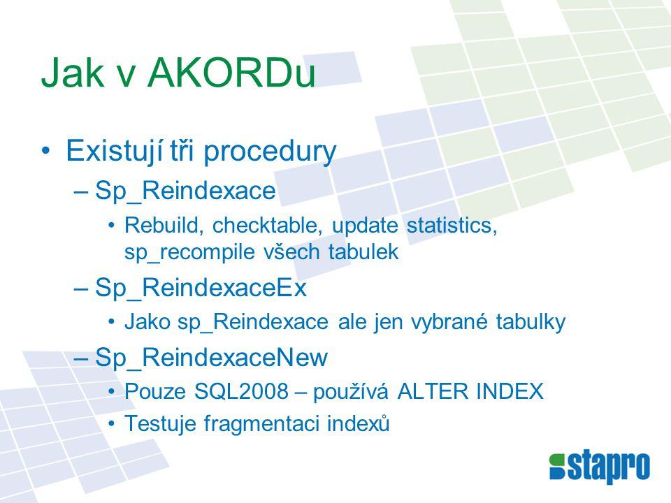 Jak v AKORDu Existují tři procedury –Sp_Reindexace Rebuild, checktable, update statistics, sp_recompile všech tabulek –Sp_ReindexaceEx Jako sp_Reindex