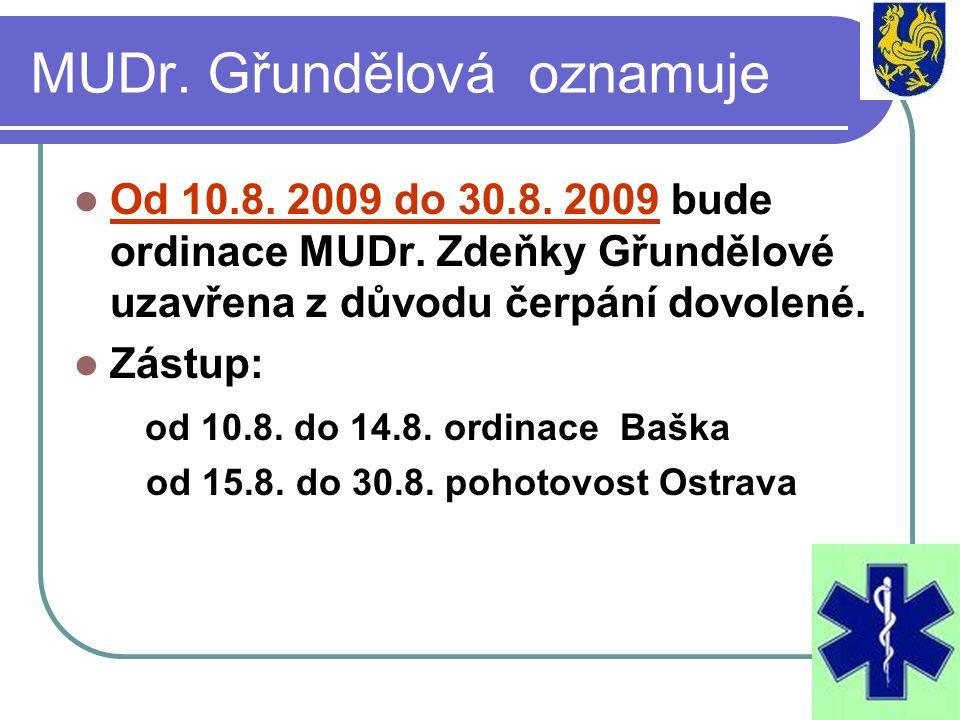 MUDr. Gřundělová oznamuje Od 10.8. 2009 do 30.8. 2009 bude ordinace MUDr. Zdeňky Gřundělové uzavřena z důvodu čerpání dovolené. Zástup: od 10.8. do 14