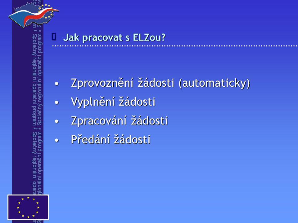 Jak pracovat s ELZou?  Zprovoznění žádosti (automaticky)Zprovoznění žádosti (automaticky) Vyplnění žádostiVyplnění žádosti Zpracování žádostiZpracová