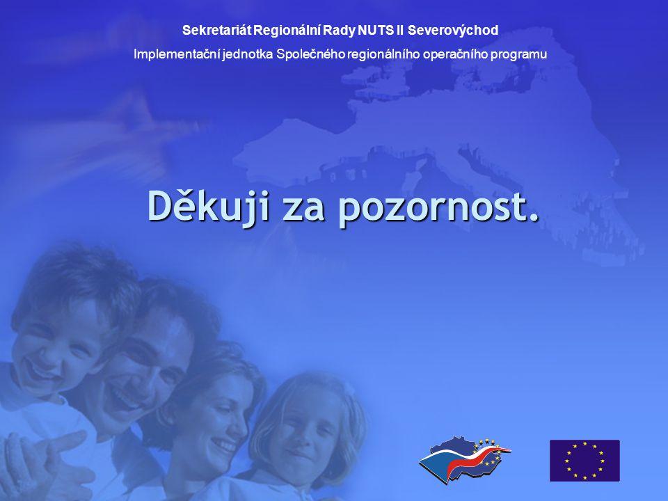 Děkuji za pozornost. Sekretariát Regionální Rady NUTS II Severovýchod Implementační jednotka Společného regionálního operačního programu