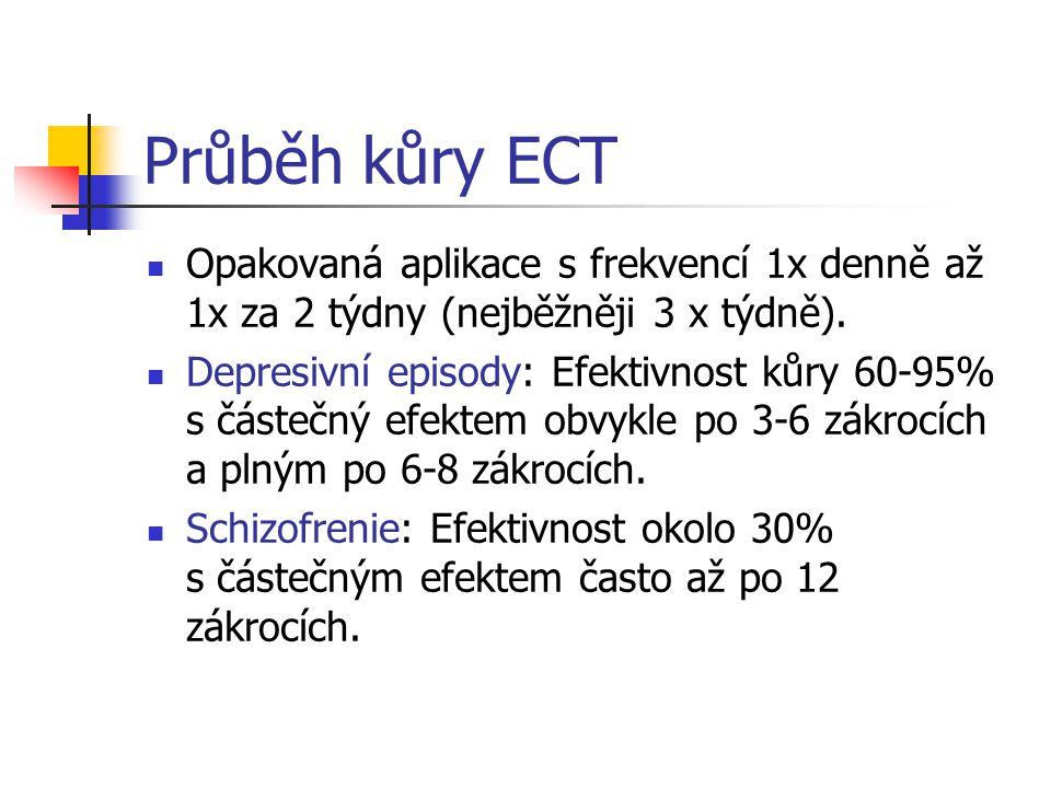 Průběh kůry ECT Opakovaná aplikace s frekvencí 1x denně až 1x za 2 týdny (nejběžněji 3 x týdně).