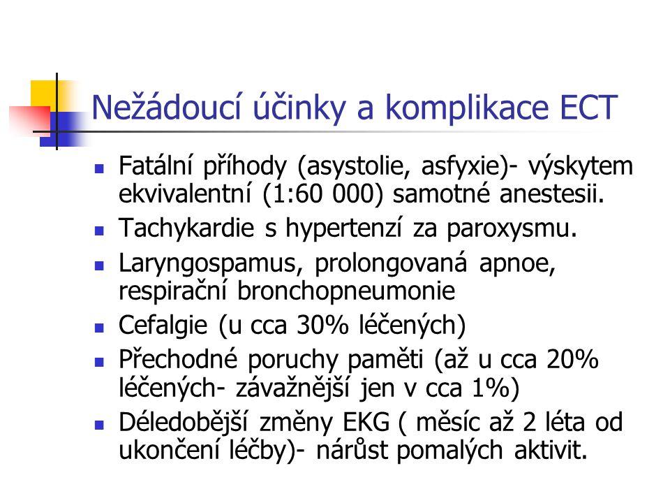 Nežádoucí účinky a komplikace ECT Fatální příhody (asystolie, asfyxie)- výskytem ekvivalentní (1:60 000) samotné anestesii.