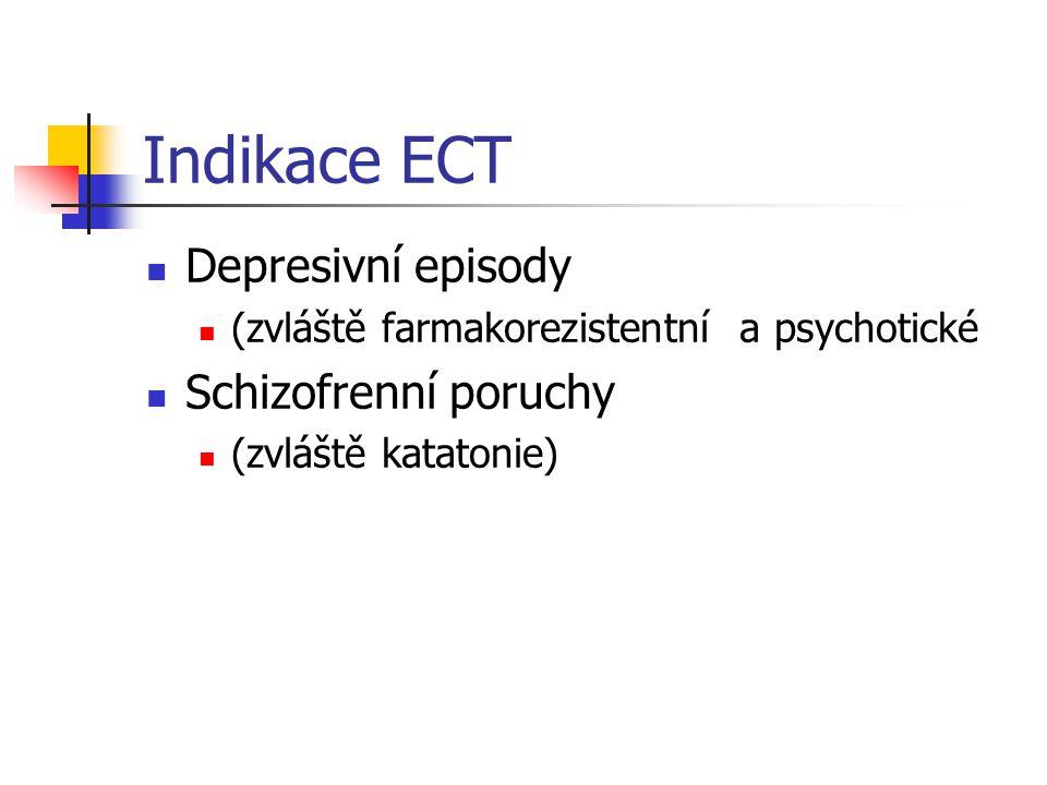 Indikace ECT Depresivní episody (zvláště farmakorezistentní a psychotické Schizofrenní poruchy (zvláště katatonie)